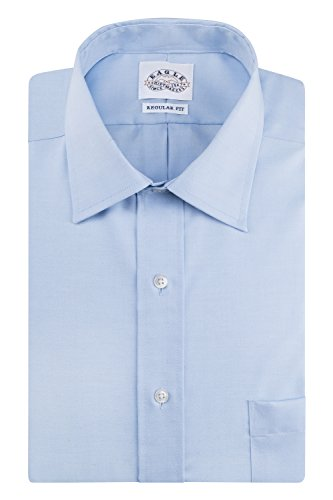 Eagle Men's Non Iron Regular Fit Solid Spread Collar Dress Shirt, Blue Mist, 15.5