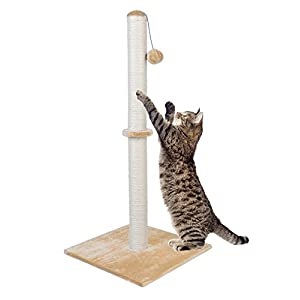Dimaka 34″ Tall Ultimate Cat Scratching Post, Claw Scratcher with Sisal Rope and Covered with Soft Smooth Plush, Vertical Scratch [Full Stretch], Modern Stable Design