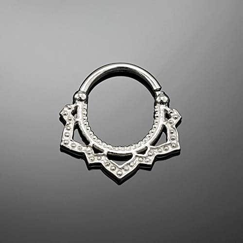 Septum Ring Sterling Silver 925 Septum Fake Septum Tribal Jewelery Indian Nose Ring S9 Gift Boxed and Gift Bag Free UK Delivery