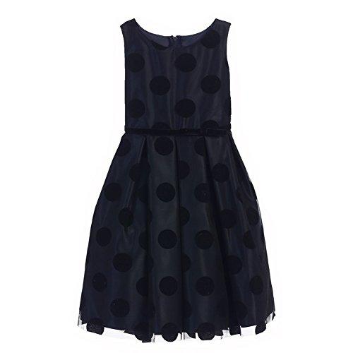 Flocked Polka Dot Mesh - Sweet Kids Little Girls Navy Black Polka Dot Flocked Mesh Christmas Dress 6