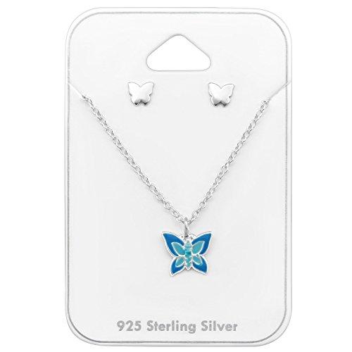 Tata Gisele© juego de collar y pendientes (plata 925/000rhodié y epoxy–mariposa