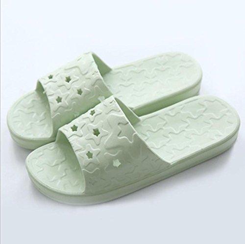 mhgao Ladies casa zapatillas de baño antideslizante suave interior Zapatillas verde