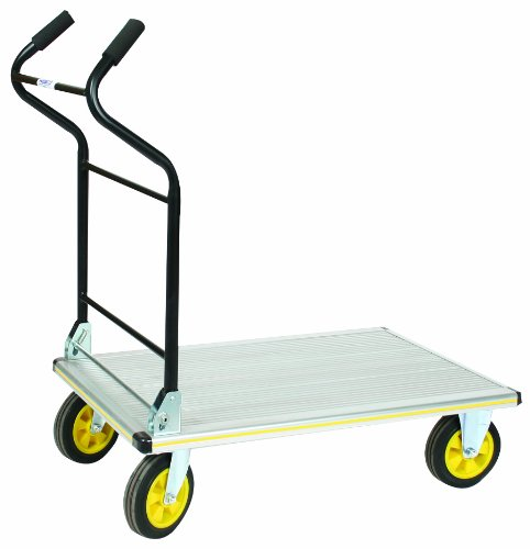 Aluminum Trucks Platform - Wesco 270382 Aluminum Platform Truck with Folding Ergonomic Handle, Rubber Wheels, 660lbs Load Capacity, 41
