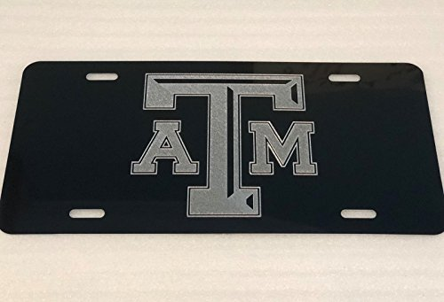 (Diamond Etched Texas A & M Logo Car Tag on Black Aluminum License Plate)