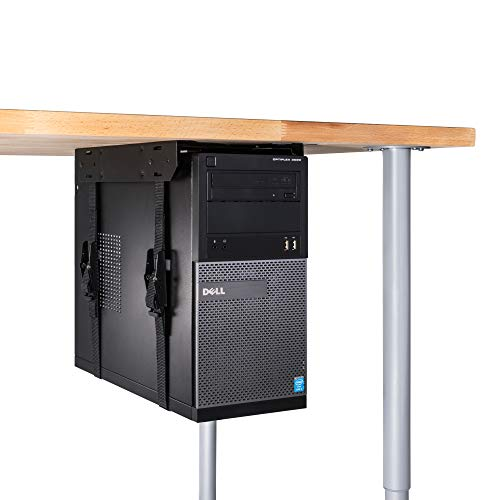 Penn Elcom CPU-57BN Under-Desk Mount Computer Holder with Slide-Out Access for Office, School and - Adjustable Brackets Wall Buddy Hanger