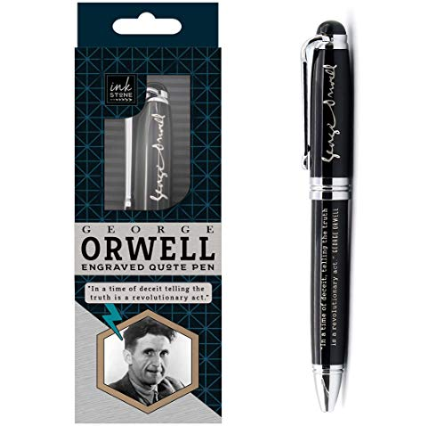 George Orwell Engraved Quote Pen - In a time of deceit, telling the truth is a revolutionary act. - Truth Movement Truther Literary Gifts for Conspiracy Theorists Writers Authors Journalists