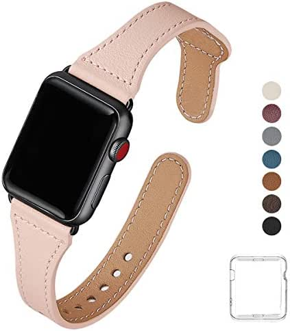SUNFWR Slim Leathe Bands Compatible with Apple Watch Band 38mm 40mm 42mm 44mm, Top Grain Leather Watch Strap Compatible for Men Women iWatch Series 5 Series 4 Series 3/2/1 (Light Pink/Black,38mm 40mm)