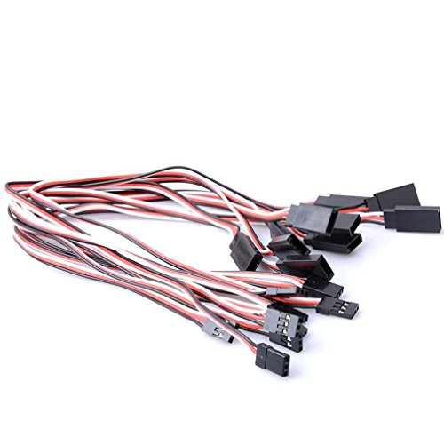 Qunqi 10packs 300mm Male to Female Servo Extension Lead Wire Cable for KK MWC Eagle Control Board (Extension Cable Servo)