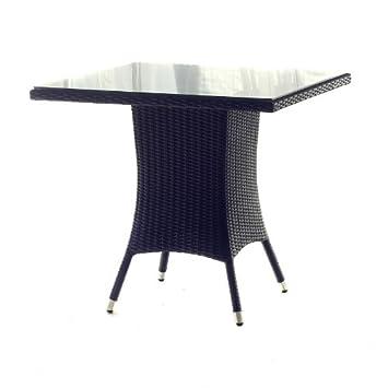 Amazon De Polyrattan Tisch 90 X 90 Cm Geflechttisch Schwarz