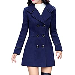 NEEDRA Womens Coats Winter Ladies Trench Coats Wool CashmereThicker Jacket Outwear Parka Cardigan Slim Coat Overcoat Black Office Work Elegant Classic