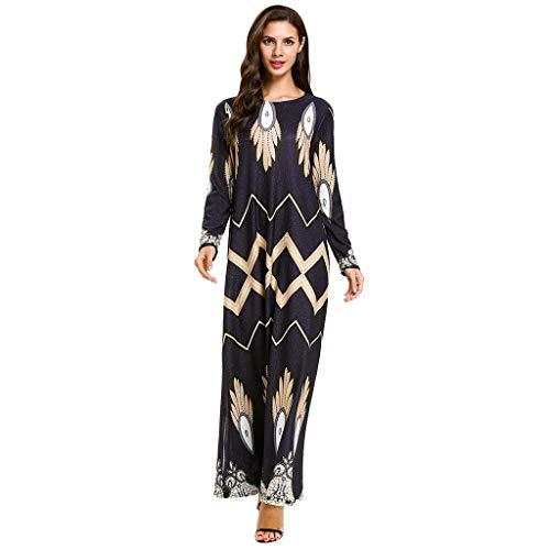FONMA Women Muslim Printing Loose Long Sleeve Arab Dress Islam Jilbab Dress Black
