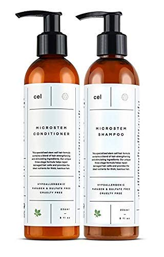 Cel MD Microstem Hair Growth Shampoo and Conditioner Set | Sulfate Free Thickening Hair Growth | Stem Cell Technology - Panax Ginseng, Biotin and Keratin by cel
