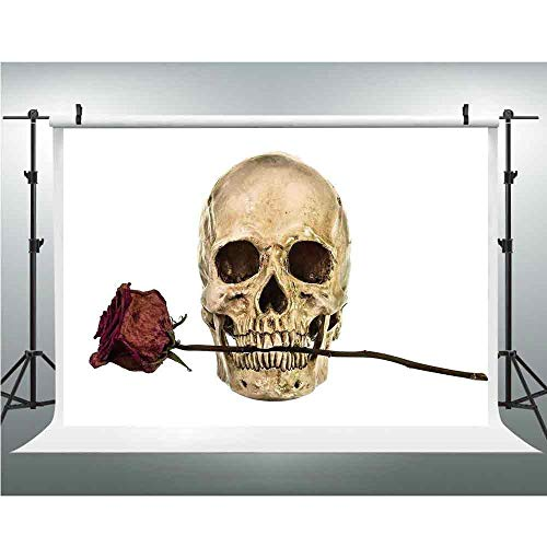 (Backdrop,Gothic Decor,Photography Garden Backdrop for Picture Photography Props,5x6.5ft,Skull with Dry Red Rose in Teeth Anatomy Death Eye Socket Jawbone Halloween Art)