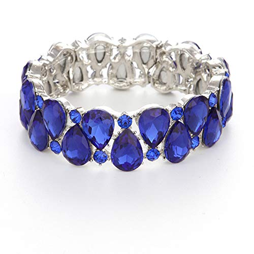 Youfir Bridal Austrian Crystal Teardrop Knot Elastic Stretch Bracelet for Brides Wedding Party (Blue)