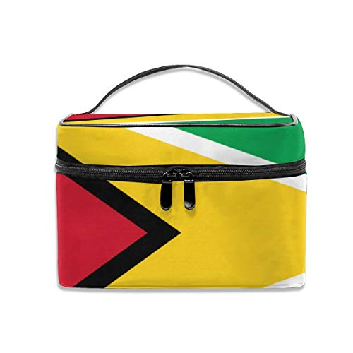 - CAKSIDA Guyana Flag Makeup Bag Professional Train Case Portable Storage Bag Travel Cosmetic Case for Women