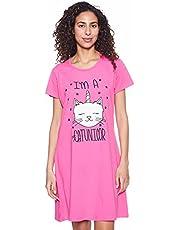 قميص نوم برقبة دائرية واكمام قصيرة بطبعة قطة للنساء من جي اي تي، مقاس L