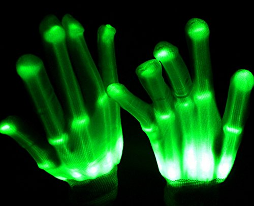 Miraclekoo LED Light-Up Skeleton Hand Knit Gloves Party Light Show Gloves For Clubbing, Rave, Birthday, EDM, Disco, Christmas, Halloween And Dubstep (Dubstep Light Show Halloween)