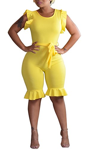 Women High Waist Bodycon Sweatsuit Tracksuit Sport Jog 2 Pieces Set Yellow 3XL (Summer Capri Set Outfit)