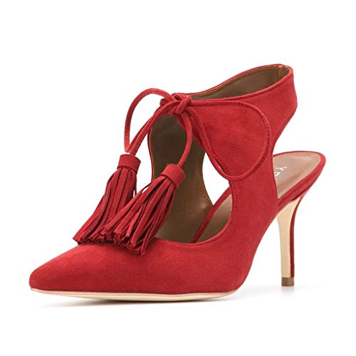 YDN Women Sexy Pointed Toe Low Heel Pumps Slingback Lace-up Stilettos Dress Shoes With Tassels Red 7 - Red Pointed Toe Slingback Shoes