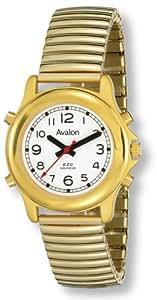Avalon EZC Unisex Voice Series Low Vision Gold-Tone 4-Button Talking Watch, # 2608