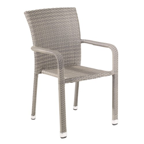 greemotion Stapelstuhl Manila, mehrfarbig, Stapelsessel mit Aluminiumgestell und Polyethylengeflecht, der Stuhl ist Gastronomie geeignet, Gs-zertifiziert, wetterfest, stabil, hochwertig, leicht, 57 x 61 x 88 cm, belastbar bis maximal 110 kg