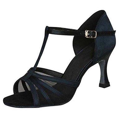 de baile de Swing Personalizables Negro Zapatos Marrón Zapatos Salsa Brown Jazz Latino Tacón Personalizado q8U65WUw