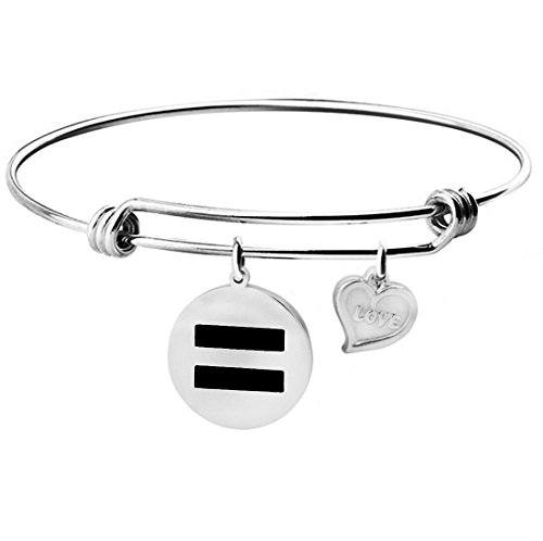 Equality Necklace Bracelet Gay Pride LGBT Transgender Rights Jewelry (Silver Equality bracelet) (Gay Jewelry)