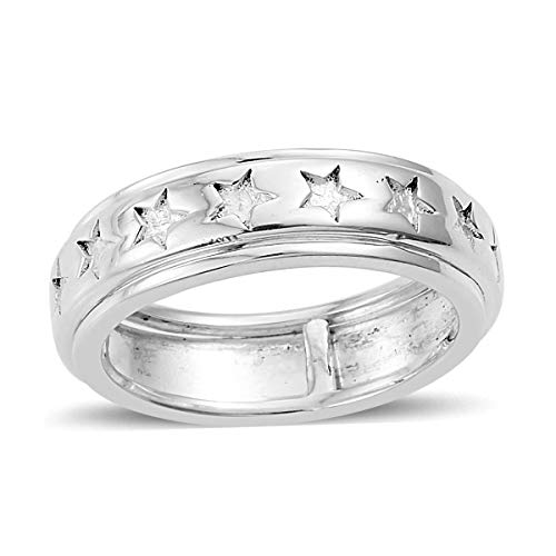 (925 Sterling Silver Star Spinner Band Ring for Women Jewelry Gift Size 5)