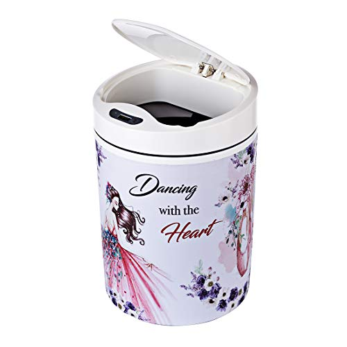 (WOLFBUSH 9L/2.34 Gallon Automatic Touchless Sensor Trash Can Automatic Sensing Waste Paper Basket Round Garbage Can for Home, with USB Charging Cable )