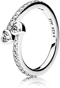 PANDORA Forever Hearts Ring, Clear CZ 191023CZ-54, 7 US