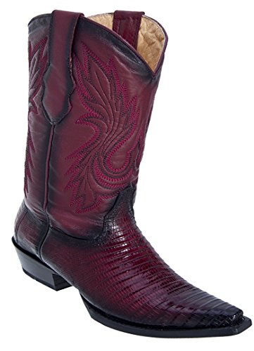 Ladies Skin Faded Boots Burgundy Snip Genuine Western Toe Teju Leather wR4BXxRrq