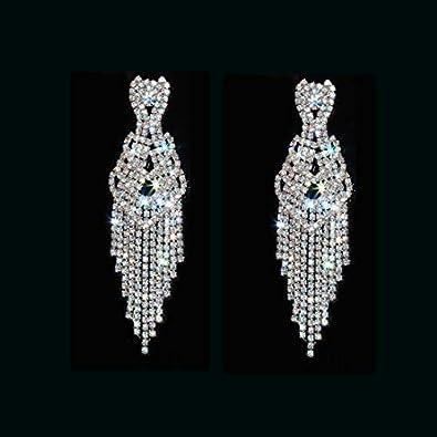 CHRAN Silver Teardrop Crystal Long Tassels Dangle Earrings Sparkling Rhinestone Ladies Gifts