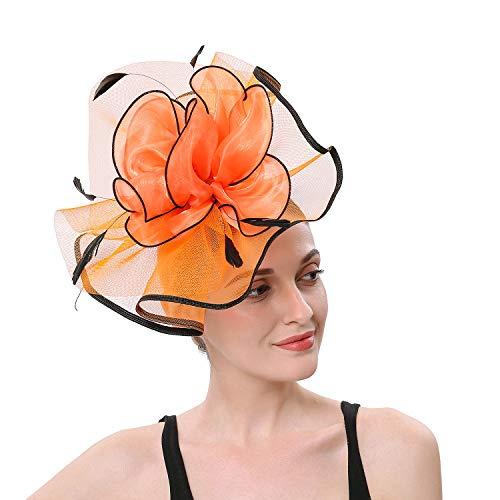 Forbeautiful 1920 50s Women's Big Flower Cocktail Wedding Tea Party Hats Fascinator Feather Mesh Net Headwear Headpiece Orange