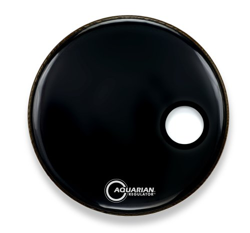 Aquarian Drumheads RSM16BK  Regulator Black 16-inch Bass Drum Head, gloss black ()