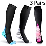 Compression Socks Women Men(3Pairs L/XL) Nurse Nursing Graduated All Day Comfortable 15-20 mmHg Pregnancy Medical Knee High Support Stocking for Travel Airplane Sport Varicose Veins