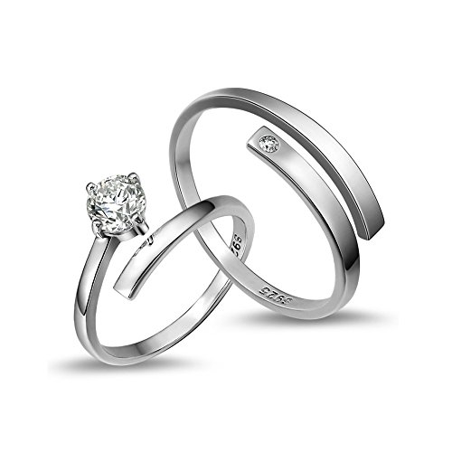 ZYZN His and Hers Sterling Silver Rings Adjustable Ring Couples Ring by ZYZN