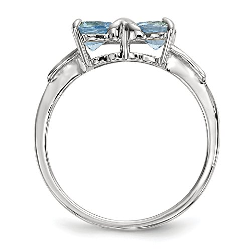 ICE CARATS 14k White Gold Swiss Blue Topaz Bow Band Ring Size 7.00 Birthstone December Set Style Fine Jewelry Gift Set For Women Heart by ICE CARATS (Image #3)