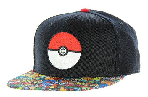 Pokemon- Pokeball Sublimated Snapback Hat Size ONE Size Black -