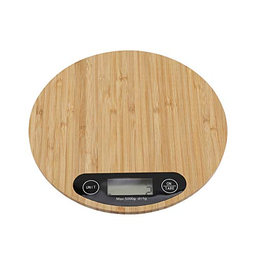 Kitchen Scales, Digital Round Kitchen Weighing Scales Electronic Cooking Scale Brown of Bamboo Material for Home Kitchen Weigh Food