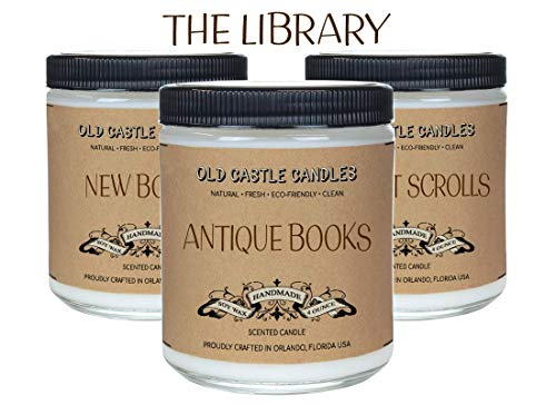 (The Library Book Candles Set, Literary Lovers Gifts, Bookshelf Decor (3) 4oz Candles)