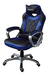 MotoRacer Gaming Chair PRO Edition | The Best Ergonomic Racing Chair For Video Games | Racing Style Gamer Chair | Padded Armrest | Maximum Comfort | Adjustable Height | PU Leather | 5 Colors (Blue)