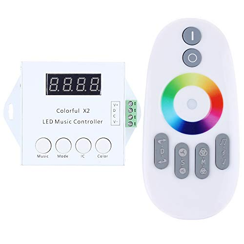 Pixel Control - CHINLY WS2811 WS2812B WS2813 USC1903 6803 Digital Addressable Led Strip MUSIC Controller X2 with RF Touch Remote;DC5-24V Input;Can Control Max 1000 Pixels