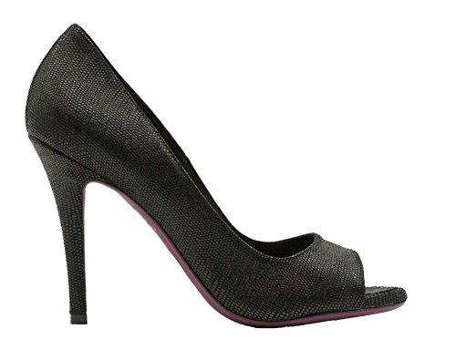 Amanda Gregory Black Pebble Leather Open Toe Pump Talla 37