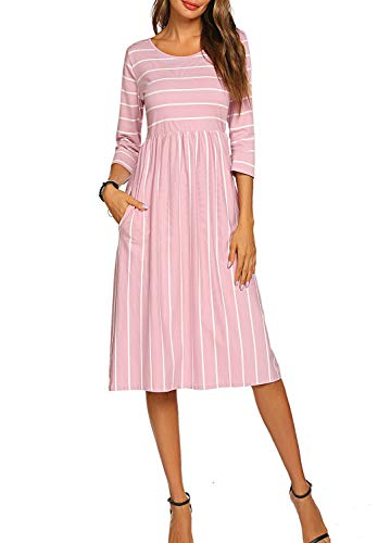 Women Striped Round Neck Summer Casual Flared Midi Dresst (L, Light Pink)