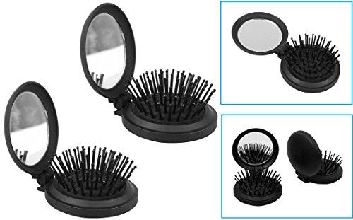 2 Pop Up Travel Folding Hair Brush Mirror Pocket Purse Car Camping Compact 2.5