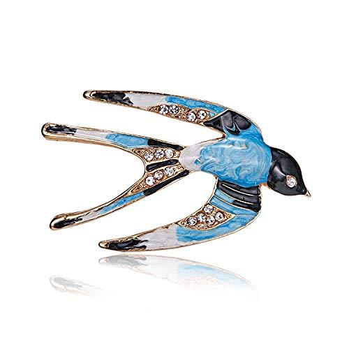 AILUOR Lovely Enamel Swallow Brooch Pins, Rhinestone Animal Bird Collection Custom Accessories Wedding Brooches Lapel Pin Jewelry Gifts Women Teen Girls (Light Blue) -
