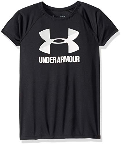 (Under Armour girls Big Logo Solid Short Sleeve T-Shirt, Black (002)/White, Youth Medium)