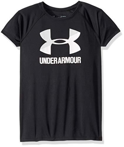 Under Armour girls Big Logo Solid Short Sleeve T-Shirt, Black (002)/White, Youth Medium