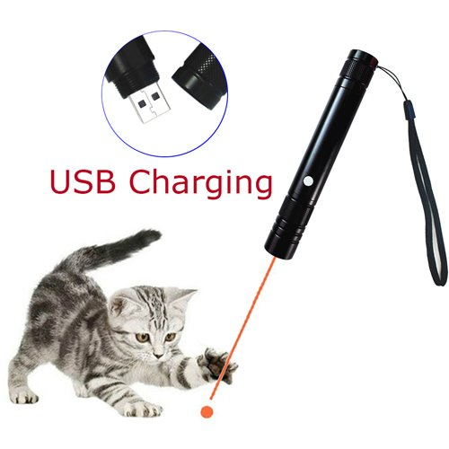 Pet Cat Catch the LED Light Pointer Interactive Exercise Toys Command Light Training Tools USB Charging