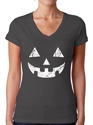 Awkward Styles Women's Jack O' Halloween Pumpkin V-Neck T Shirts for Women Halloween Easy Costume Idea Charcoal 2XL ()